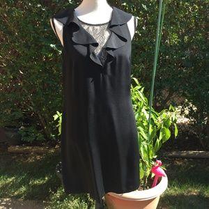 Rebecca Taylor Black Silk, Ruffle & Lace Dress 12